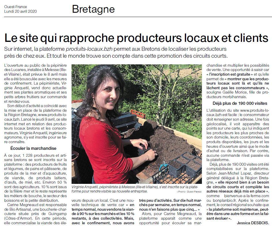 pépinière des Lucanes Ouest France avril 2020